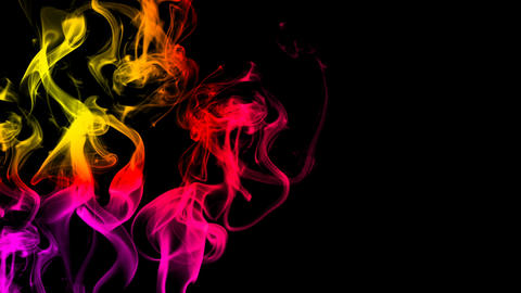 CG animation of colorful smoke on a black background. Juicy and fresh color. 3D  Animation