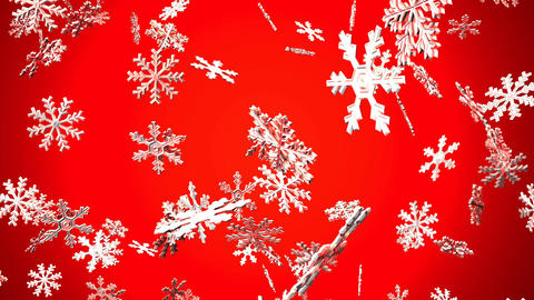 Snow Crystals On Red Background