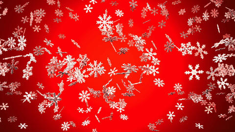 Snow Crystals On Red Background Animation