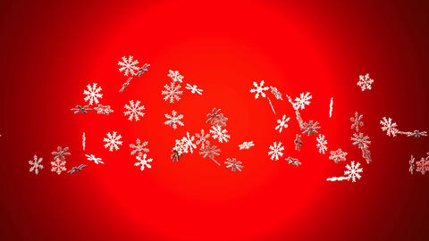 Snow Crystals On Red Background 1