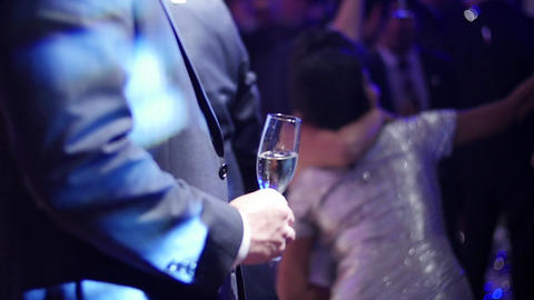 Man holding champagne glass Footage