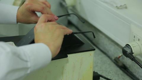Testing glasses frame adjustments Footage