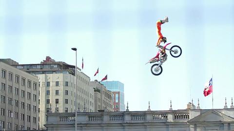 Stunt biker doing flips Footage