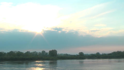 Sun Path Reflection on River Water Surface Footage