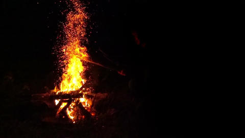 Fire Flames with Sparks from Campfire Filmmaterial