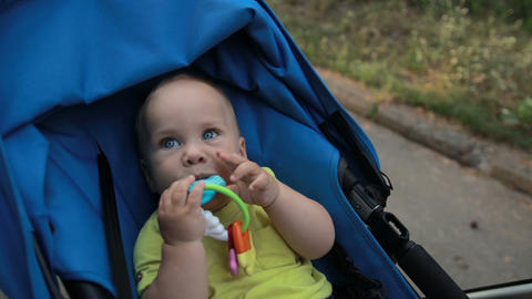 Smiling toddler baby boy sitting in pram outdoors Footage