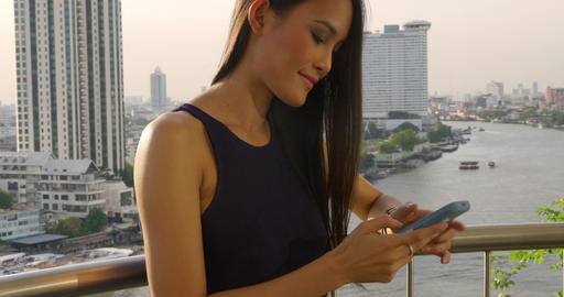 Pretty Thai Woman Texting Footage