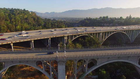 Aerial Freeway Bridge Footage