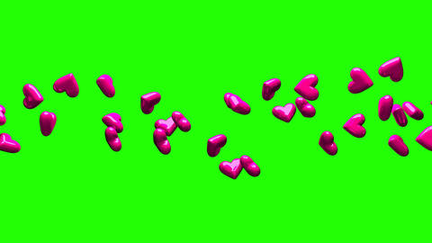 Pink Hearts On Green Chroma Key CG動画