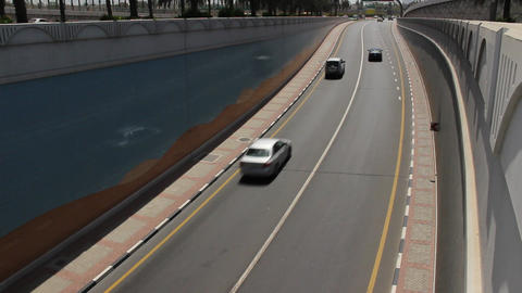 Small number of cars ride at Baniyas Road underpass exit Footage