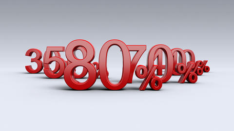Sale, discount, percentages, special offer. Percentages in red. 4K Animation