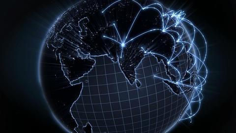 Growing Global Network. Internet Concept. Blue Version. 4K