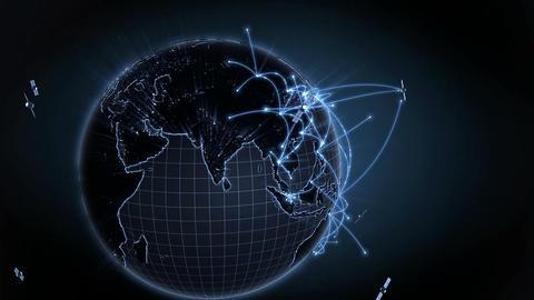 Growing Global Network. Internet Concept. Blue Version. 4K 0