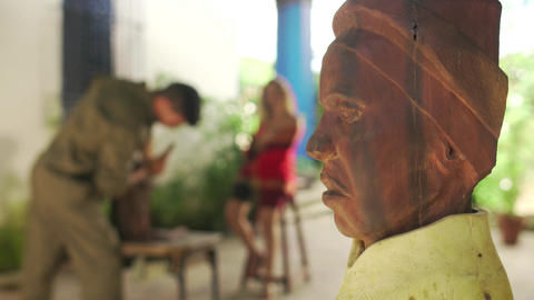 9 Closeup Wooden Statue Sculptor And Model Working In Atelier Footage