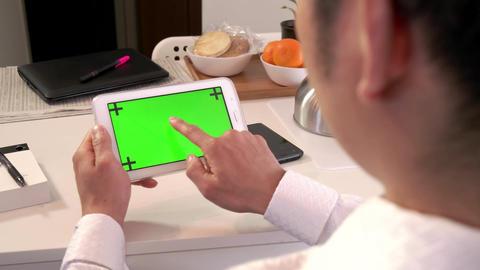 Internet Green Screen Monitor Business Man Businessman Ipad Tablet Technology Footage