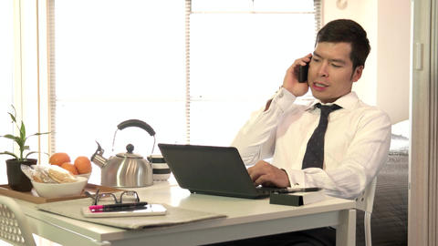 Man Asian Businessman Business Manager Working At Home Typing Laptop Computer Footage