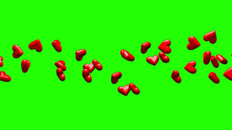 Red Hearts On Green Chroma Key CG動画