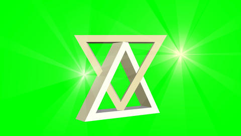 David star, jewish symbol, animation of two moving 3d triangles and point light  Animación