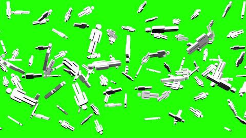 Human Shaped Objects On Green Chroma Key Animation
