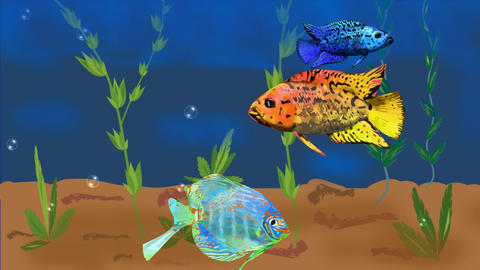 Animated aquarium with colorful tropical fish and plants, rising air bubbles. Se Animation