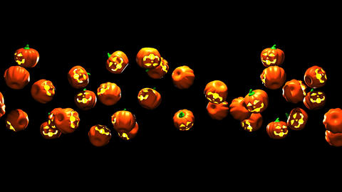 Jack-O-Lanterns On Black Background