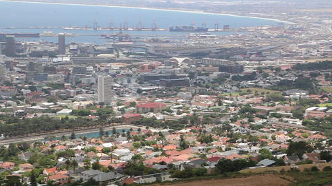Panoramic high angle view of Cape Town and the mountains surrounding it Footage