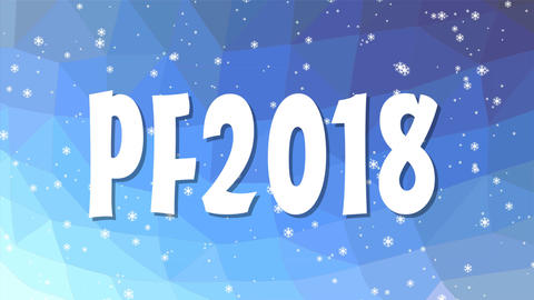 Happy new year 2018, seamless blue polygonal background with snowfall and headli Animation