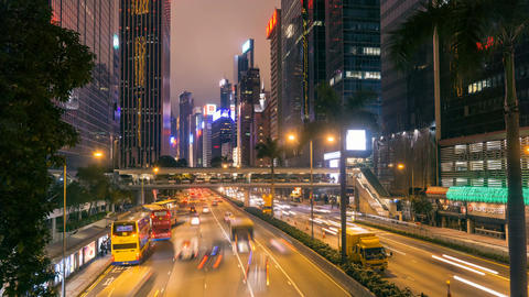 High traffic 4k time lapse of modern asian city Hong Kong street at night Footage