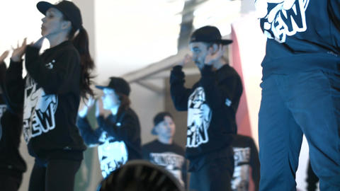 Talented Guys and Girls in Black Dance Professionally Hip-hop Footage