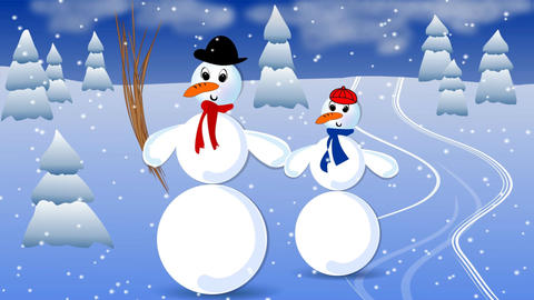 Big snowman and his child in landscape with snowfall. Animated illustration for  Image
