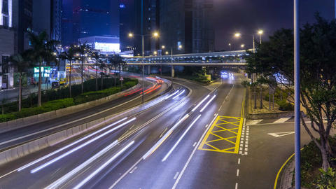 Hong Kong highway street with traffic at night timelapse 4k Footage
