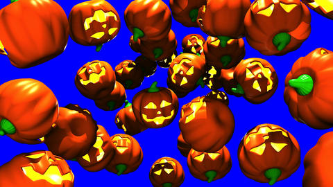 Jack-O-Lanterns On Blue Chroma Key Animation