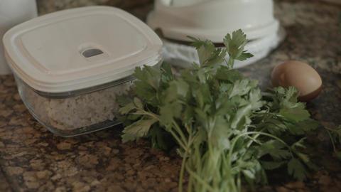 Cooking ingredients. Pan Right Footage