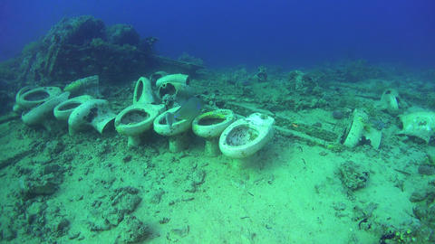 Toilet Bowls in the Wreckage of the Ship Footage