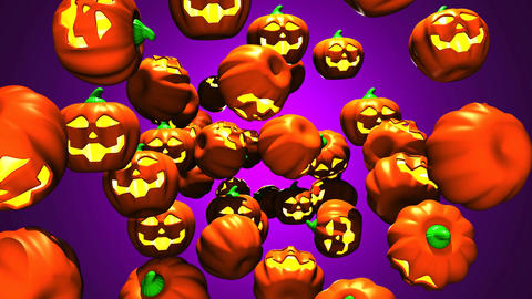 Jack-O-Lanterns On Purple Background 2