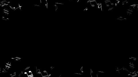 Black Musical Notes On Black Background Stock Video Footage