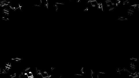 Black Musical Notes On Black Background, Stock Animation