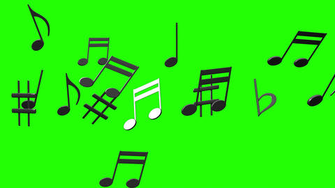 Black Musical Notes On Green Chroma Key Animation