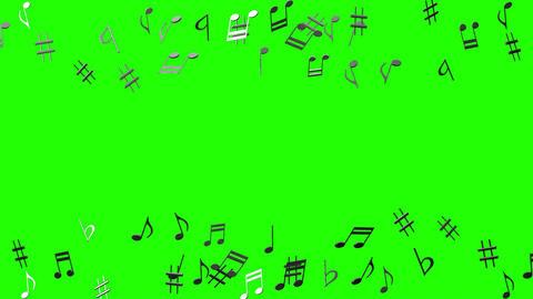 Black Musical Notes On Green Chroma Key CG動画