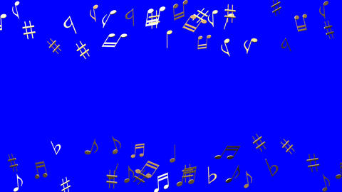 Brass Musical Notes On Blue Chroma Key Animation
