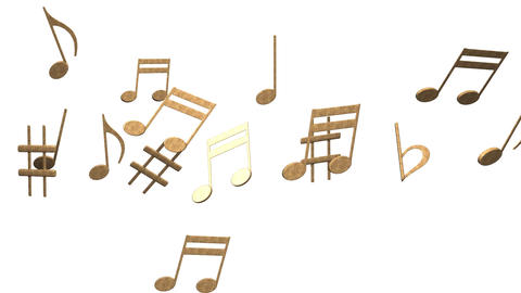 Brass Musical Notes On White Background CG動画