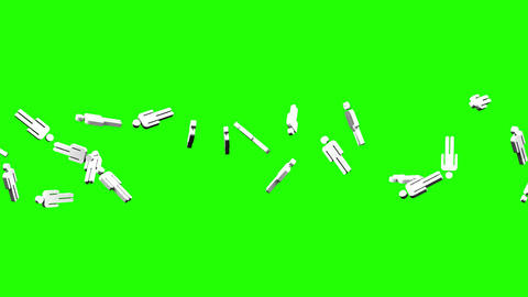 Human Shaped Objects On Green Chroma Key Animation