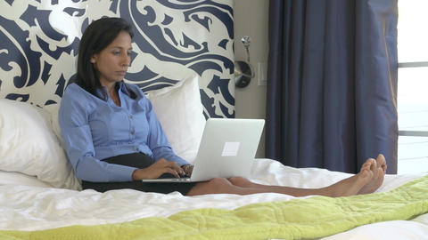 Businesswoman Working On Laptop In Hotel Room Live Action
