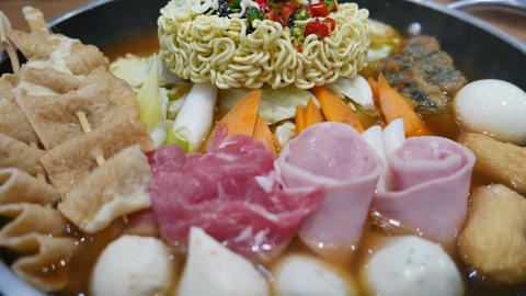 Korean Hot pot 'Budae Jjigae' or Army Stew, a Korean fusion food Live Action