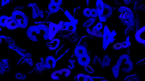 Blue Numbers On Black Background Animation