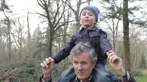 Grandfather Carrying Grandson On Shoulders During Walk Footage