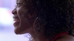 Woman Close Up drink talk Footage