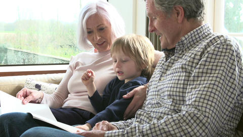 Grandparents With Grandson Reading Book On Sofa Footage