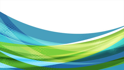 Colorful blue and green abstract waves video animation Animation