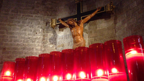 Jesus Christ's sculpture at church Footage